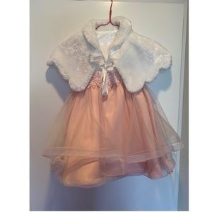 Kids girls Dress with Shot jacket fur 3/3T years